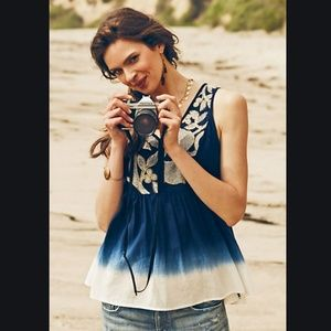 ANTHROPOLOGIE/ Floreat Dip Dye Embroidered Tank